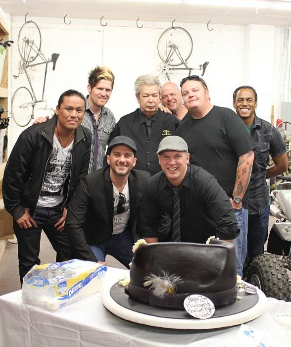 The Old Man with Rick Harrison (his son), Corey Harrison (his grandson) and members of Mosaic as well as the cake hat