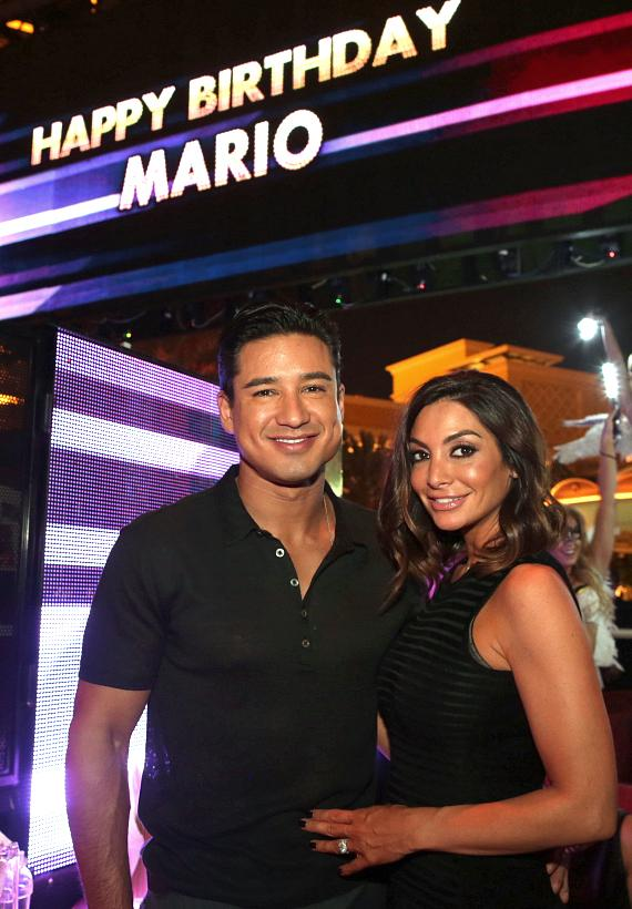 Mario Lopez and his wife Courtney Mazza Lopez at XS Nightclub