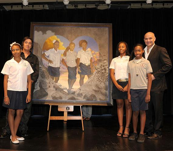 Artist Loppo Martinez, students and Andre Agassi at 2010 Andre Agassi Grand Slam For Children