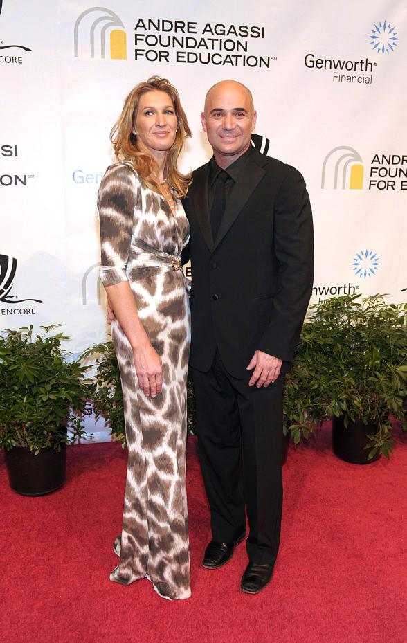 Former tennis players Steffi Graf and Andre Agassi