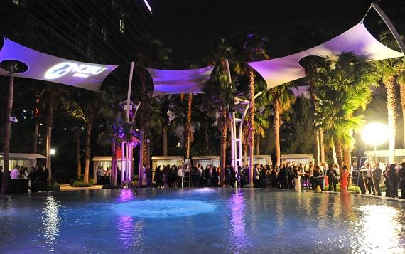 Guests surrounding Breathe Pool