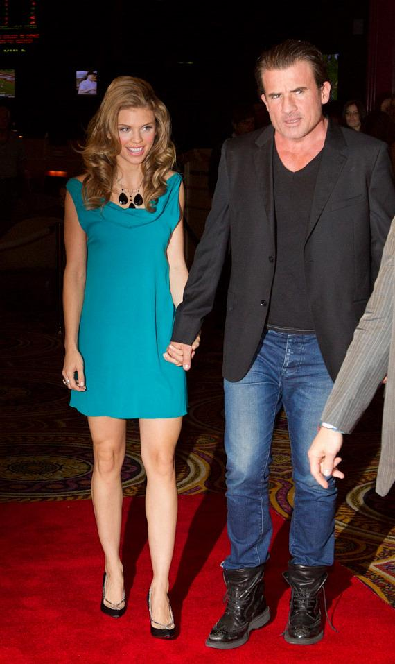 AnnaLynne McCord and her boyfriend Dominic Purcell arrive at PURE Nightclub