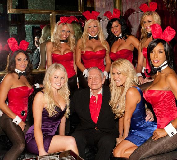 Playmate Anna Sophia Berglund (left) Hugh Hefner (center) and Crystal Harris (right) with Playboy Bunnies at the Playboy Club in Las Vegas in November, 2010
