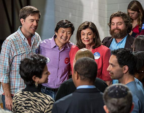 Ed Helms, Ken Jeong, congresswoman Shelley Berkley and Zach Galifianakis