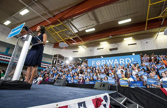 Michelle Obama speaks at Orr Middle School Gymnasium in Las Vegas