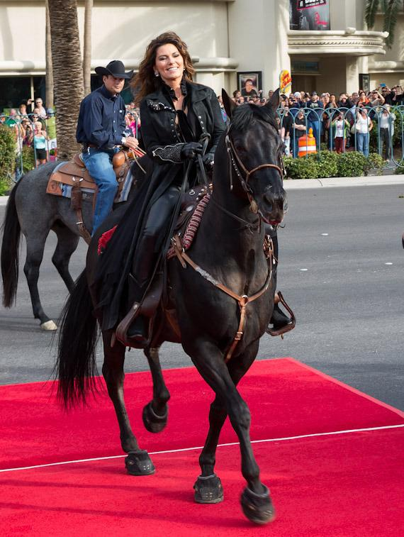 Shania Twain rides her horse into town to her new home at The Colosseum at Caesars Palace