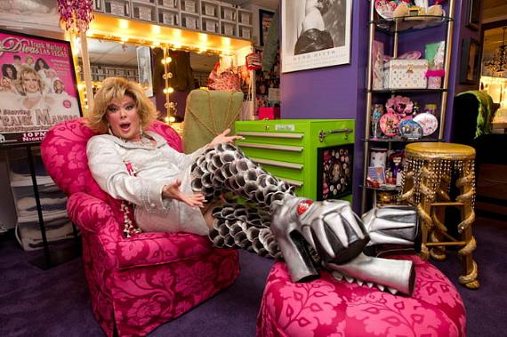 Diva's star Frank Marino as his alter ego Joan Rivers tries on the Official DESTROYER Gene Simmons KISS BOOTS backstage at The Imperial Palace. KISS by Monster Mini Golf is coming to Las Vegas March 15th and in honor of the opening Frank let his inner Diva rock out.
