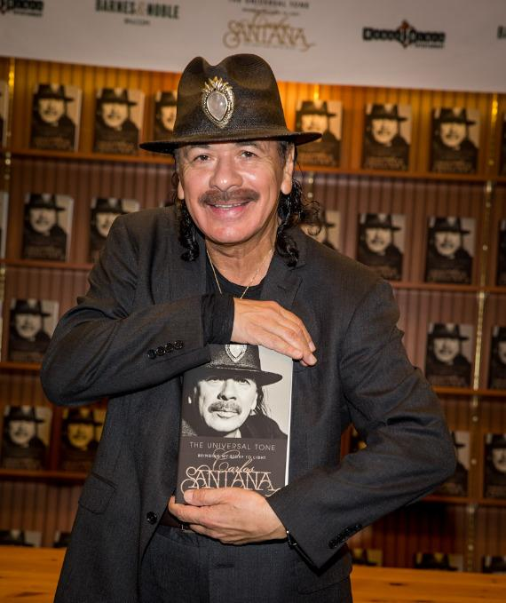 "Carlos Santana signs his book ""THE UNIVERSAL TONE: Bringing My Story to Light"" at Barnes & Noble in Las Vegas"