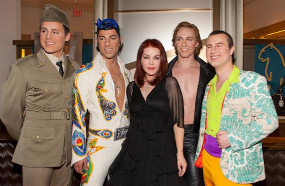 Priscilla Presley with cast of Viva ELVIS