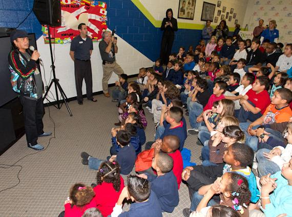 Carlos talks to the kids from Lied Memorial Clubhouse
