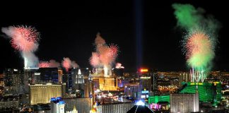 Fireworks burst over the Las Vegas Strip at midnight on New Year's 2011