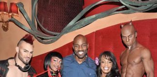 Niecy Nash and Jay Tucker with the cast of Zumanity - The Sensual Side of Cirque du Soleil at New York-New York Hotel & Casino
