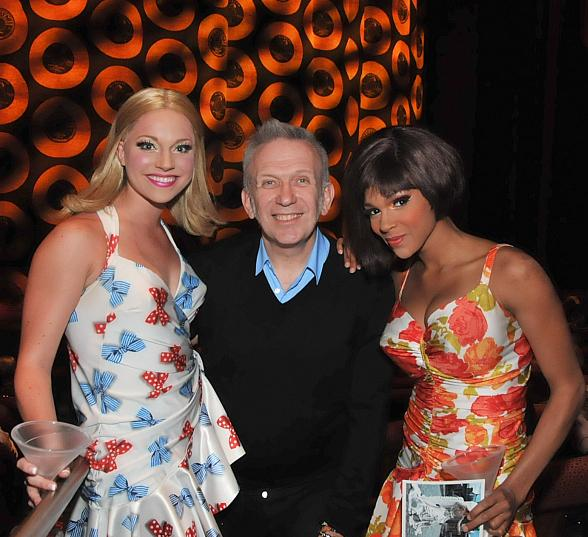 Jean Paul Gaultier poses with two dancers from Viva ELVIS at ARIA Resort & Casino