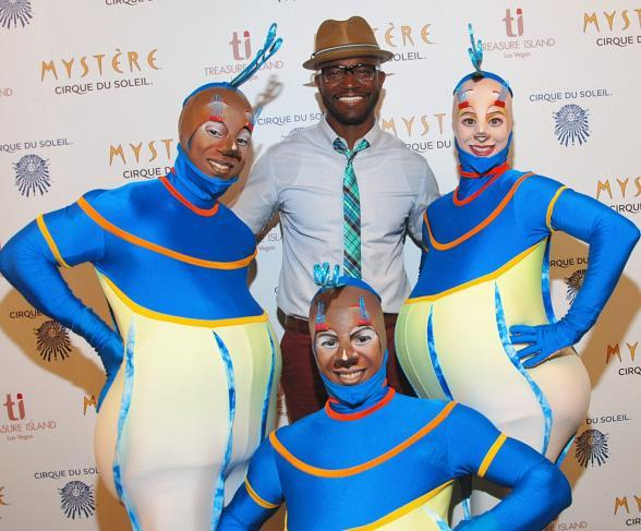 Taye Diggs with the famed Spermatos from Mystère by Cirque du Soleil at Treasure Island Las Vegas