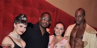 Martin Lawrence with cast members from Zumanity, The Sensual Side of Cirque du Soleil at New York-New York Hotel & Casino Las Vegas