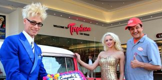"Murray SawChuck, Chloe Crawfpord and Douglas ""Lefty"" leferovich celebrate 1 Year Anniversary at The Tropicana Las Vegas"