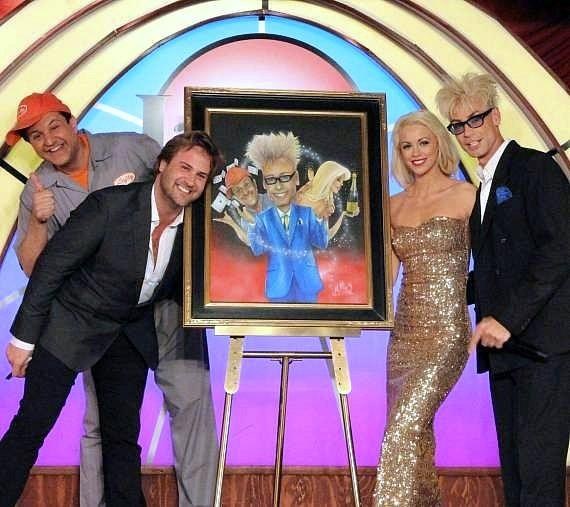 "Douglas ""Lefty"" Leferovich, Jimmy Mulligan, Chloe Louise Crawford and Murray SawChuck with Mulligan's painting of the cast"
