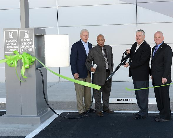 The LVCVA's Hugh Sinnock, vice president of customer experience; Robert Jones, director of engineering; Terry Jicinsky, senior vice president of operations; and Walter Laub, senior manager of engineering, celebrate the new electric vehicle charging stations at the Las Vegas Convention Center