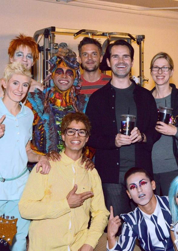 Brandon Flowers and the cast of Michael Jackson ONE by Cirque du Soleil at Mandalay Bay Resort and Casino