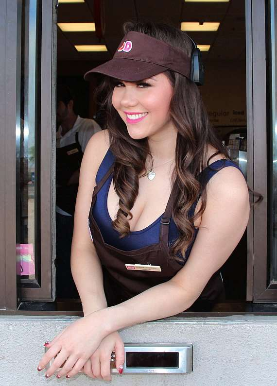 Pin Up star Claire Sinclair works at Dunkin' Donuts to Raise Funds for Nevada Childhood Cancer Foundation