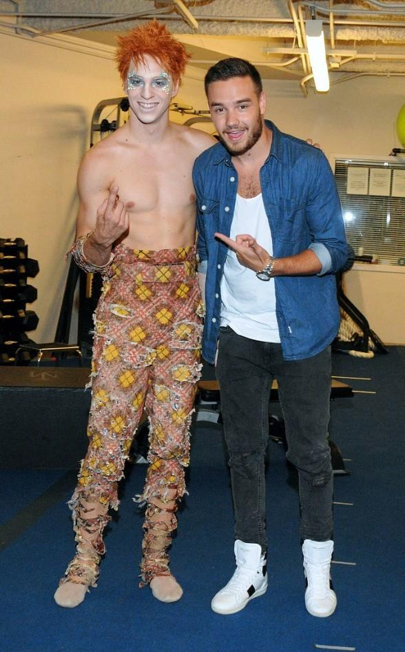 """Liam Payne of One Direction with Michael Jackson ONE artist Pier-Olivier Doucet (aka """"Stranger in Moscow"""" Beggar Boy)"""