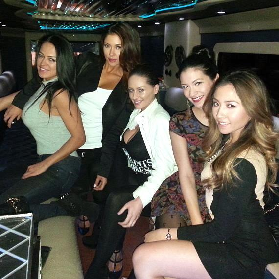 Arianny Celeste and friends ride in the limo to Andiamo Italian Steakhouse in the D Las Vegas