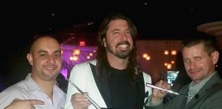 Dave Grohl of Foo Fighters dines at STK Steakhouse in The Cosmopolitan of Las Vegas