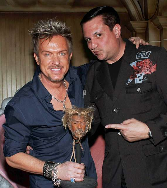 Chris Phillips of Zowie Bowie with magician Doug Leferovich at The Golden Tiki in Las Vegas