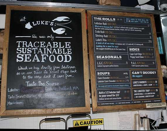 Luke's Lobster menu at Fashion Show in Las Vegas