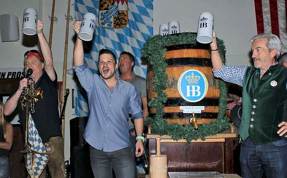 Mark Shunock and crew celebrate the tapping of same Oktoberfestbier beer at Hofbräuhaus Las Vegas