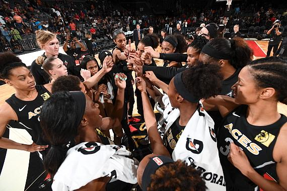 Las Vegas Aces Post Game Huddle