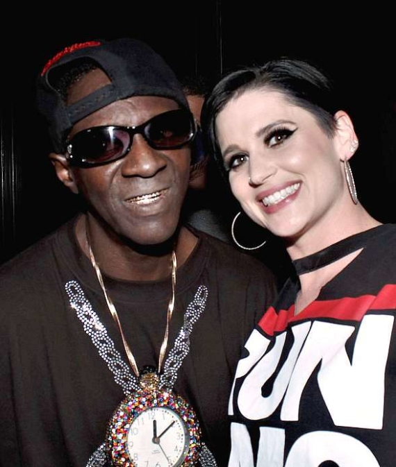"""Flavor Flav with Megan Ruger of """"Raiding The Rock Vault"""" at Club 172 at The Rio Las Vegas"""