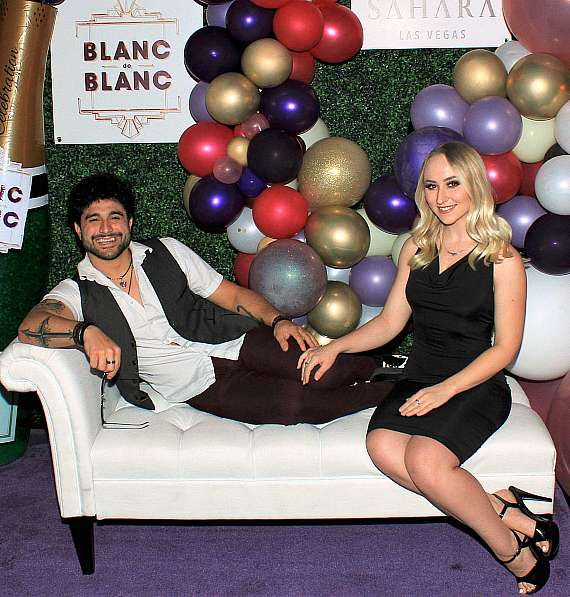 Vin A. of The Bronx Wanderers and Elizabeth Hunt at Blanc de Blanc grand opening at Sahara Las Vegas