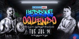 "U.S. Marine Veteran Jamel Herring to Defend Junior Lightweight World Title Against Jonathan Oquendo July 14 at MGM Grand ""Bubble"""