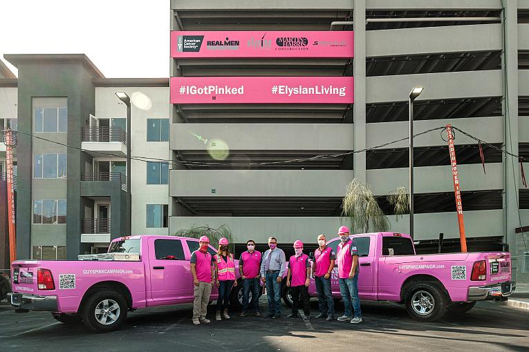 Luxury Apartment Construction Project, Elysian at The Palms, Goes Pink to Spread Awareness of the Real Men Wear Pink Las Vegas Campaign Benefitting the American Cancer Society