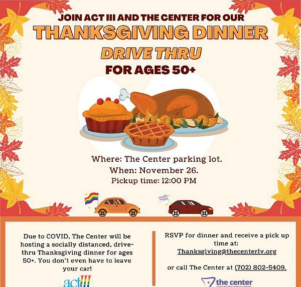 Area Restaurants to Offer Complimentary Thanksgiving Meal for Seniors Through Partnership With the LGBTQ Center of Southern Nevada Nov. 26