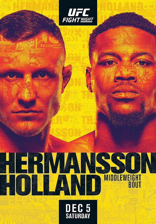 Thrilling Middleweight Clash Between (#4) Jack Hermansson and Kevin Holland Takes Place at UFC Apex in Las Vegas Dec. 5