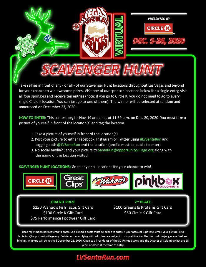 Las Vegas Great Santa Run Set to Run Scavenger Hunt Contest for Virtual Participants