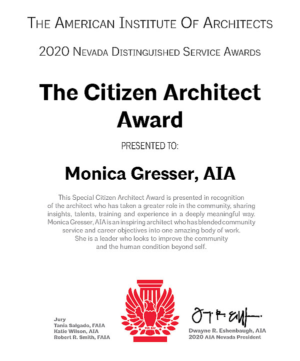 """BRAZEN Architecture Founder Receives AIA Nevada's First Ever """"Citizen Architect"""" Honor"""