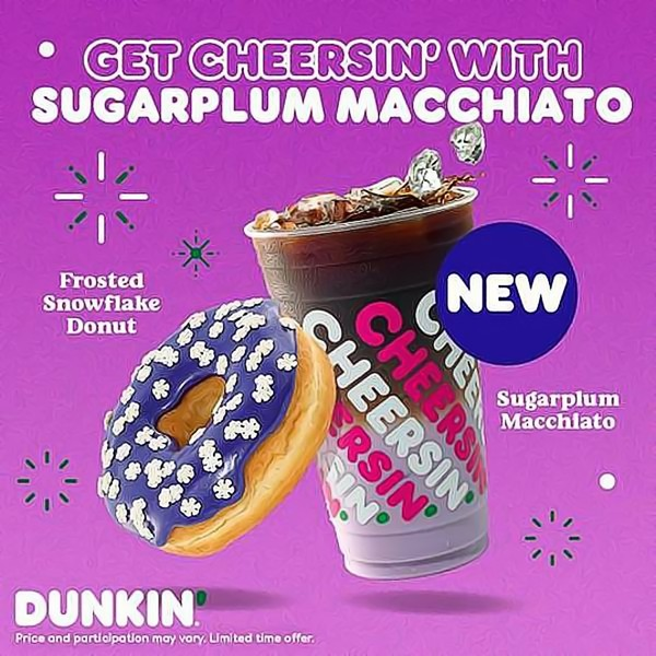 Dunkin' Launches Sugarplum Macchiato and Other Sweet Holiday Menu Additions