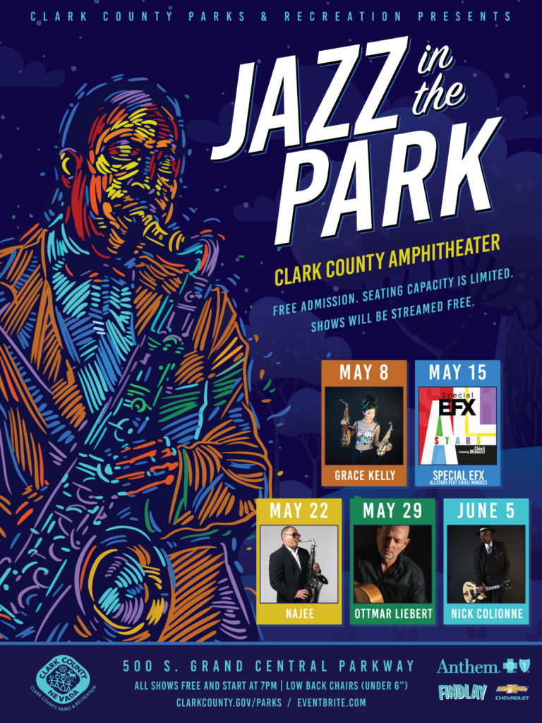 Flier for Jazz in the Park series
