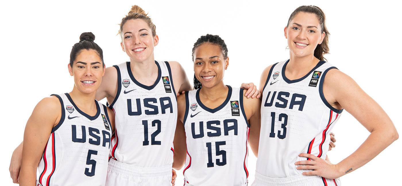 Kelsey Plum of the Las Vegas Aces a long with other women competing in the Olympics