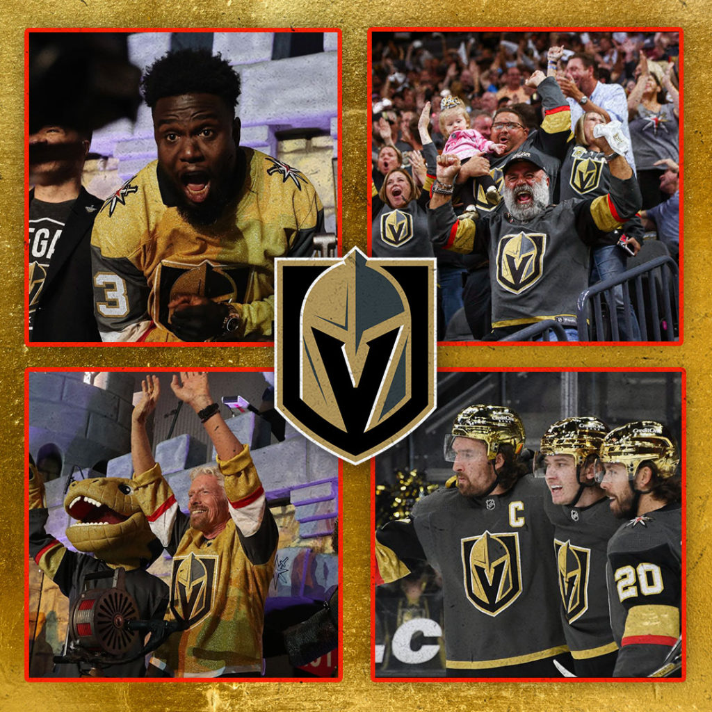 Collage featuring Vegas Golden Knights players and fans
