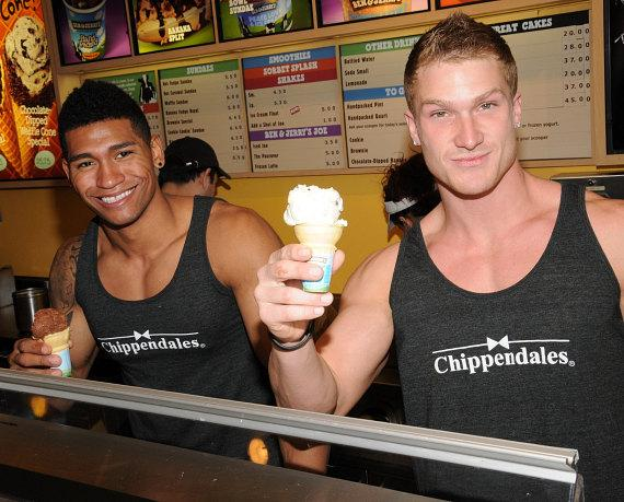 Chippendales scoop Ice Cream for Charity at Ben & Jerry's