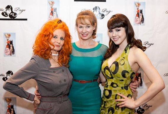 Tempest Storm, Bettie Page clothing designer Tatyana and Claire Sinclair at Bettie Page Clothing at MAGIC