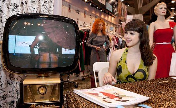 Claire Sinclair and Tempest Storm Bettie at Page Clothing at MAGIC
