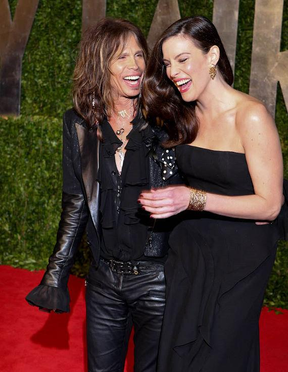 Steven Tyler and Daughter Liv Tyler shoe their striking resemblance on the carpet at The Vanity Fair Oscar Party in Los Angeles, CA