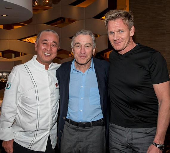 Chef Nobu Matsuhisa, Robert DeNiro and Gordon Ramsay at Nobu Hotel at Caesars Palace in Las Vegas
