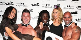 Cheryl Burke and Kym Johnson with Chippendales dancers