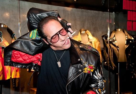 Andrew Dice Clay with memorabilia case at Hard Rock Hotel Las Vegas